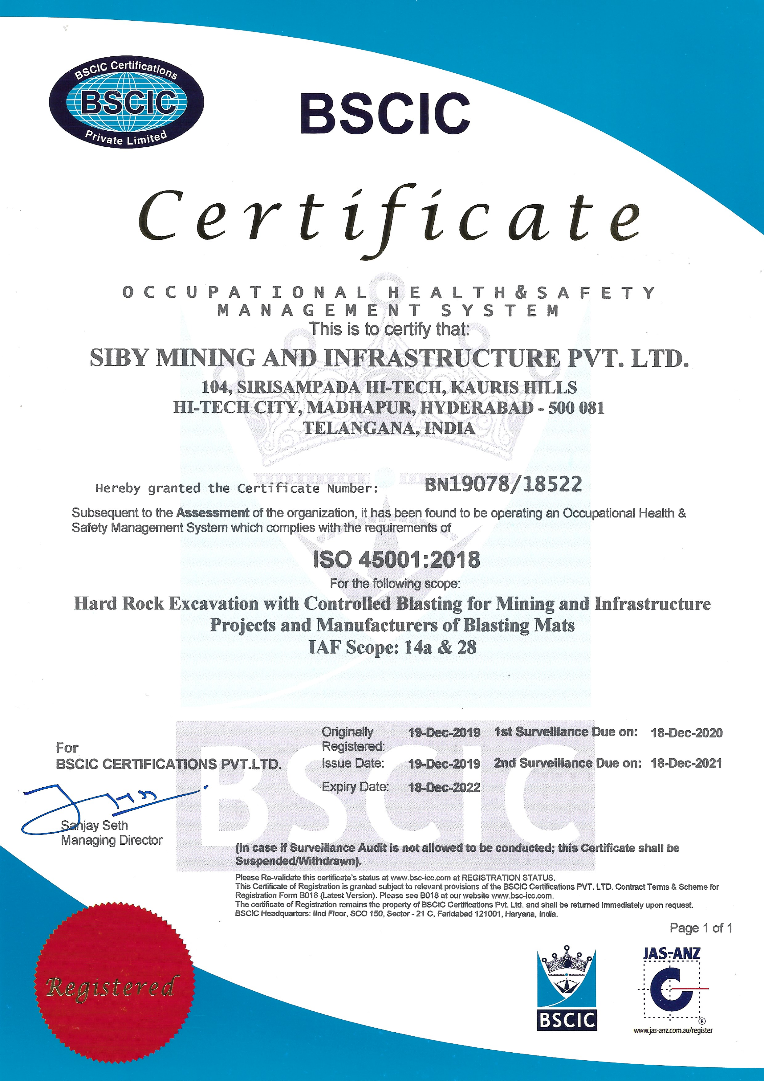 Siby Mining ISO 45001:2018 Certificate